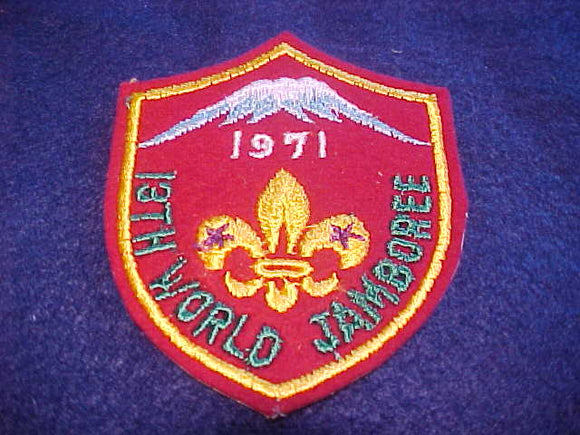 1971 WJ PATCH, SOUVENIR ISSUE, 71 X 85MM