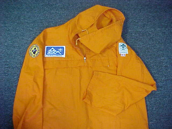 1975 WJ ANORAK, SENIOR SCOUT CAMP, WOVEN PATCH ON SLEVE (SSC), WORLD CONVERSATION AWARD (PANDA) PATCH ON OTHER SLEVE, ANORAK IS ORANGE, SIZE 44, RARE