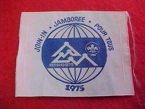 1975 WJ PATCH, JOIN IN JAMBOREE, 50 X 60MM, WOVEN