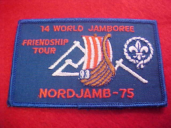 1975 WJ PATCH, FRIENDSHIP TOUR, 70 X 110 MM