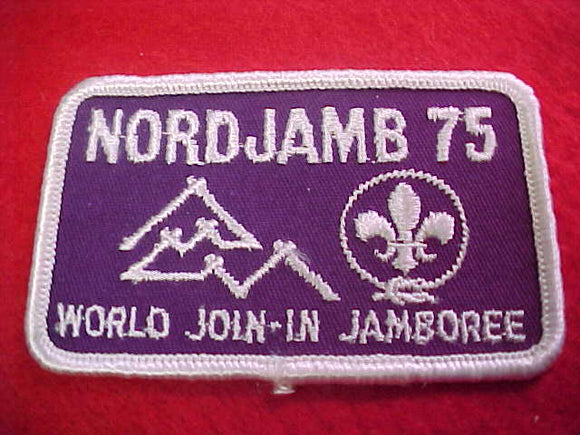 1975 WJ PATCH, JOIN IN JAMBOREE, EMBROIDERED, 61 X 82 MM