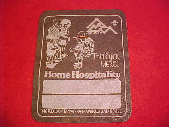 1975 WJ PATCH, HOME HOSPITALITY, LEATHER, 120 X 150MM, RARE