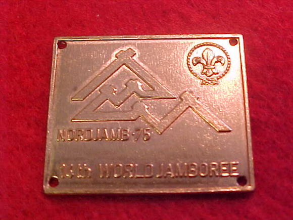 1975 WJ HIKING STICK EMBLEM (?), METAL, COPPER COLOR, 25 X 30MM