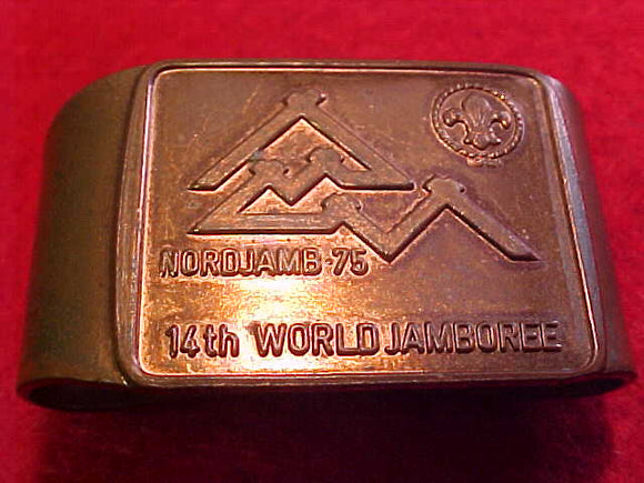 1975 WJ NECKERCHIEF SLIDE, COPPER COLOR, BENT/READY TO USE