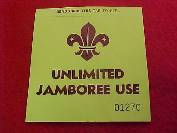 1975 WJ STICKER, UNLIMITED JAMBO USE PARKING PASS, 76 X 82MM