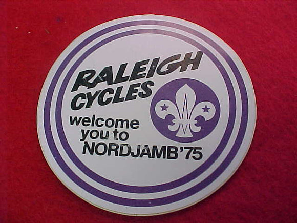 1975 WJ STICKER, RALEIGH CYCLES, 75MM ROUND