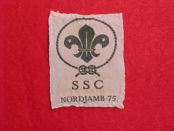 1975 WJ SENIOR SCOUT CAMP WOVEN PATCH, RARE ISSUE OF THE OLDER SCOUTS' SUBCAMP, USED