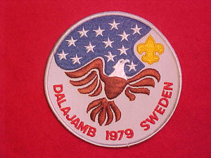 "1979 WJ JACKET PATCH, DALAJAMB SWEDEN, BSA CONTINGENT, 5"" ROUND"