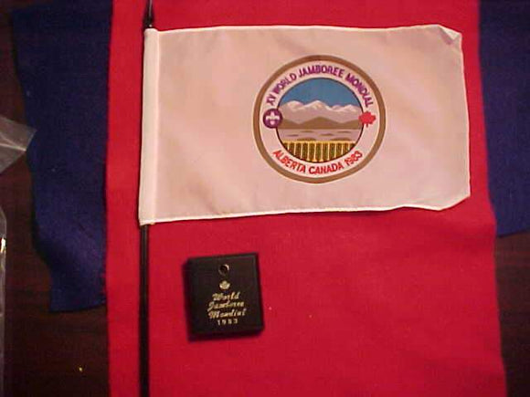 1983 WJ DESK FLAG, 150 X 255MM, W/ POLE & STAND