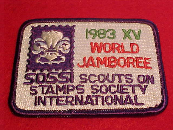 1983 WJ PATCH, SOSSI STAFF, SCOUTS ON STAMPS SOCIETY INTERNATIONAL