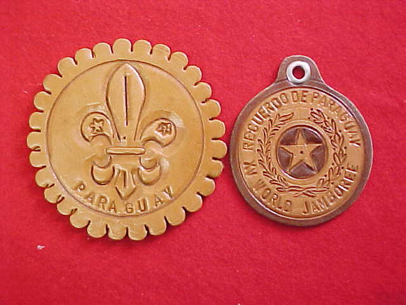 1983 WJ PARAGUAY CONTINGENT LEATHER PATCHES (2), VERY RARE