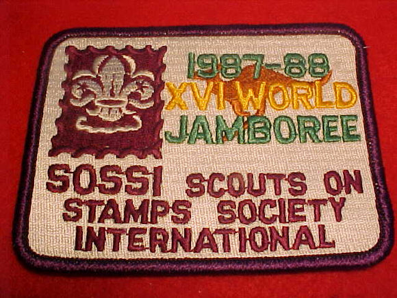 1988 WJ PATCH, SOSSI, SCOUTS ON STAMPS SOCIETY INTERNATIONAL
