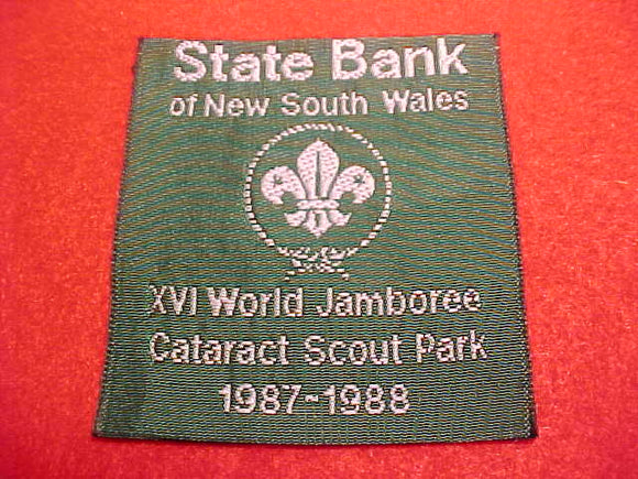 1988 WJ PATCH, STATE BANK OF NEW SOUTH WALES/CATARACT SCOUT PARK, WOVEN