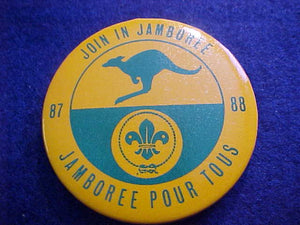 1988 WJ BUTTON, JOIN IN JAMBOREE, PIN BACK, 55MM ROUND