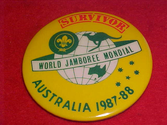 1988 WJ BUTTON, SURVIVOR, PIN BACK, 55MM ROUND