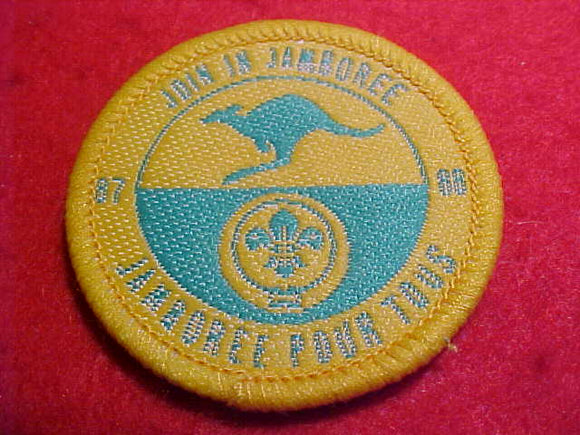 1988 WJ HAT PATCH, JOIN IN JAMBOREE, 44MM ROUND, YELLOW BORDER