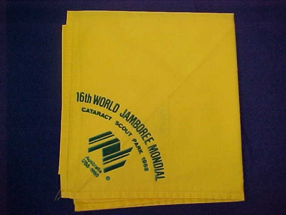1988 WJ NECKERCHIEF, PARTICIPANT, FLOCKED ON YELLOW, ISSUED 1 PER PARTICIPANT