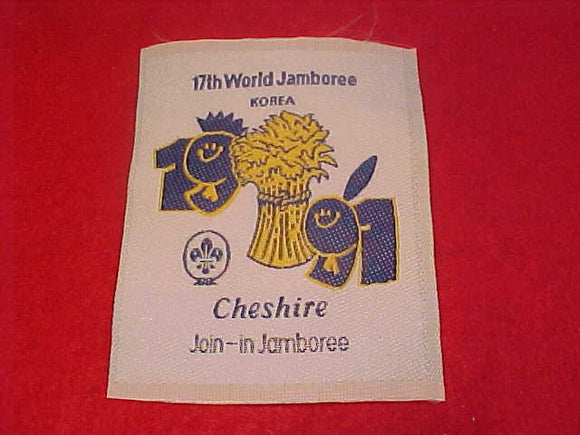 1991 WJ PATCH, CHESHIRE JOIN IN JAMBOREE, WOVEN