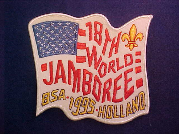 1995 WJ JACKET PATCH, BSA CONTINGENT, EMBROIDERED ON WHITE FELT