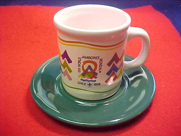 1999 WJ CERAMIC TEA CUP AND SAUCER (1 EACH)