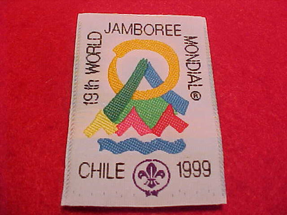 1999 WJ PATCH, OFFICIAL ISSUE, WOVEN. ISSUED 1 PER SCOUT, 40X58 MM
