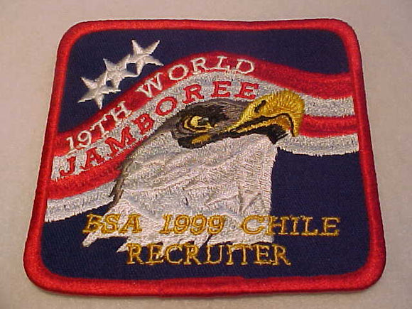 1999 WJ PATCH, BSA RECRUITER, ISSUED TO SCOUT OR SCOUTER WHO RECRUITES A PARTICIPANT TO THIS JAMBO,RARE