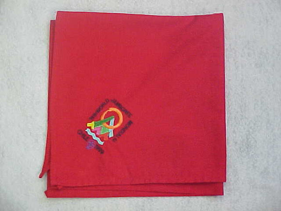 1999 WJ NECKERCHIEF, EMBROIDERED, RED COTTON