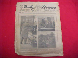 "1929 WJ NEWSPAPER, ""THE DAILY ARROW"", 8/2/29, ROYALS ON COVER @ WAR MEMORIAL, POOR COND."