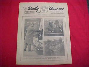 "1929 WJ NEWSPAPER, ""THE DAILY ARROW"", 8/2/29, ROYALS ON COVER @ WAR MEMORIAL, GOOD COND."
