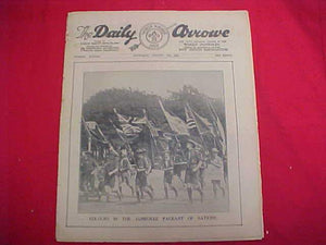 "1929 WJ NEWSPAPER, ""THE DAILY ARROW"", 8/10/29, JAMBOREE PAGEANT OF NATIONS ON COVER, GOOD COND."