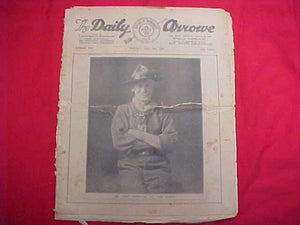 "1929 WJ NEWSPAPER, ""THE DAILY ARROW"", 7/30/29, BADEN POWELL ON COVER, POOR COND."