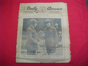 "1929 WJ NEWSPAPER, ""THE DAILY ARROW"", 8/1/29, BADEN POWELL ON COVER, POOR COND."