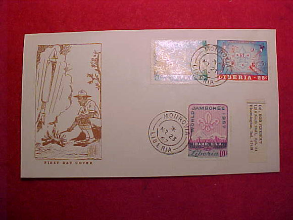 1967 WJ CACHET, LIBERIA 10¢/20/40¢ STAMPS, FIRST DAY COVER, CANCELLED MR 23, 1967