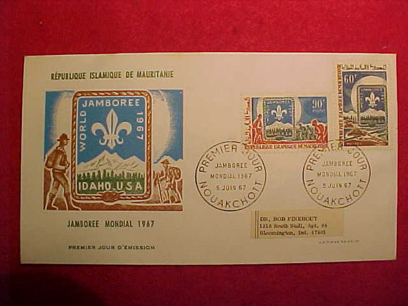 1967 WJ CACHET, REPUBLIQUE ISLAMIQUE DO MAURITANIE 60F/90F STAMPS, CANCELLED 5/5/67