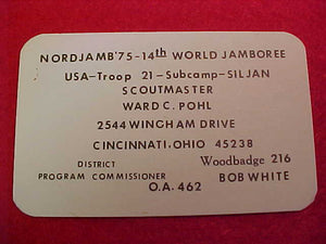1975 WJ BUSINESS CARD, BSA SCOUTMASTER WARD POHL, CINCINNATI, OH