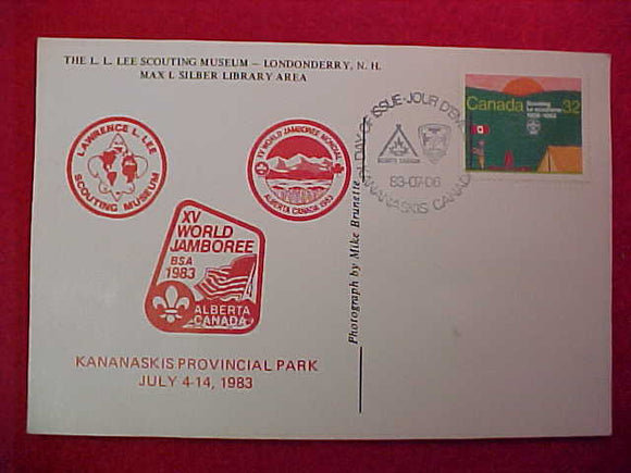 1983 WJ POSTCARD, L. L. LEE SCOUTING MUSEUM/MAX I . SILBER LIBRARY, HAS 32¢ CANADA SCOUT STAMP, 1ST DAY OF ISSUE, CANCELLATION 83/07/06