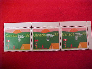 1983 WJ CANADA 32¢ POSTAL STAMPS, SET OF 3, CORNER OF SHEET