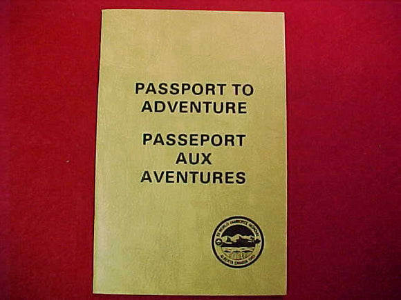 1983 WJ BOOKLET, PASSPORT TO ADVENTURE, IN ORIG. PLASTIC HOLDER