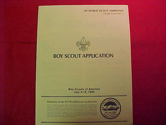 1983 WJ BSA BOY SCOUT APPLICATION