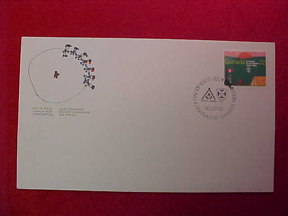 1983 WJ CANADA SCOUT ENVELOPE W/ 32¢ STAMP, 1ST DAY OF ISSUE, CANCELLATION 83/07/06