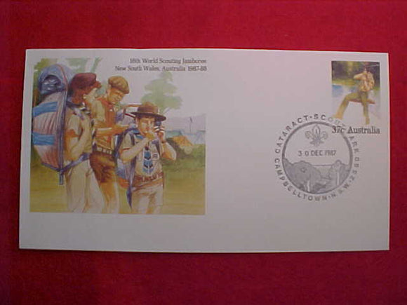 1987-1988 WJ CACHET W/ 37¢ AUSTRALIA STAMP PRINTED DIRECTLY ONTO ENVELOPE, CANCELLATION 12/30/87
