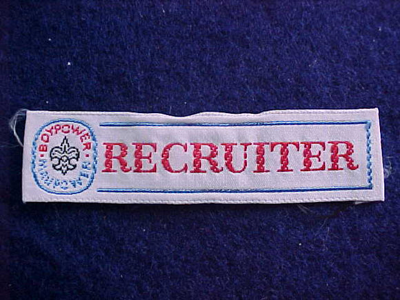 RECRUITER, BOYPOWER/MANPOWER, WOVEN STRIP