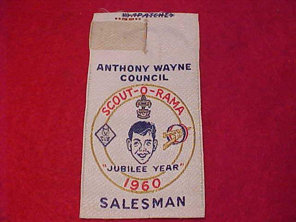 ANTHONY WAYNE C., 1960 SCOUT-O-RAMA, SALESMAN, WOVEN, MINT