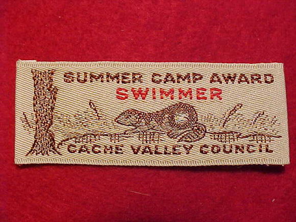 CACHE VALLEY C. SUMMER CAMP, SWIMMER AWARD, WOVEN