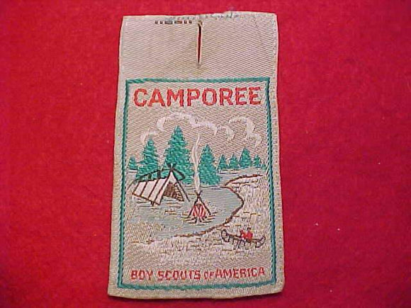 CAMPOREE, BOY SCOUTS OF AMERICA, TENT & CANOE SCENE, WOVEN