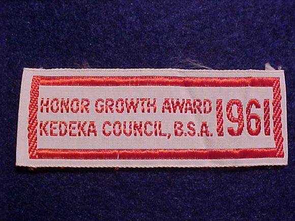 KEDEKA C. HONOR GROWTH AWARD, 25X68MM, WOVEN