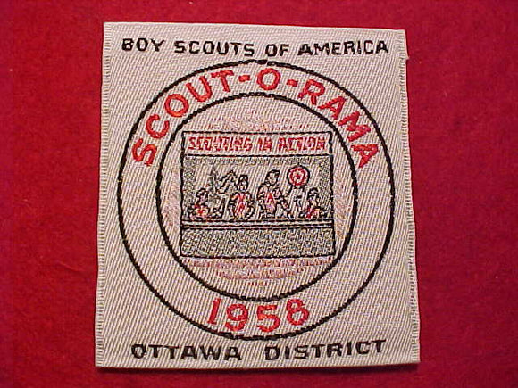 OTTAWA DISTRICT SCOUT-O-RAMA, 1958, WOVEN