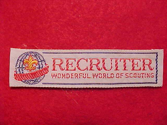RECRUITER, WONDERFUL WORLD OF SCOUTING, WOVEN