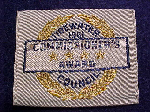 TIDEWATER C., 1961, COMMISSIONER'S AWARD, WOVEN