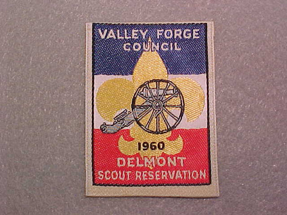 DELMONT SCOUT RESERVATION, VALLEY FORGE COUNCIL WOVEN PATCH, 1960